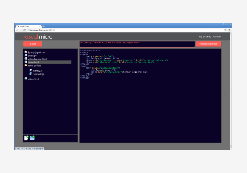 Screenshot of a web browser with an editor inside